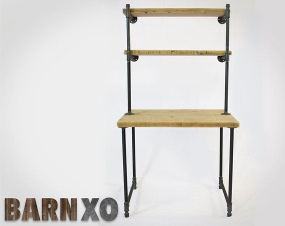 Reclaimed Wood Computer Desk w/ 2 Shelves  Industrial by barnxo