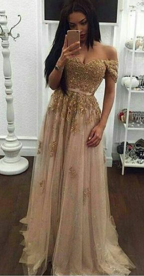 Off the shoulder Gold Prom Dress,Long Prom Dresses,Charming Prom Dresses,Evening Dress, Prom Gowns, Formal Women Dress,prom dress
