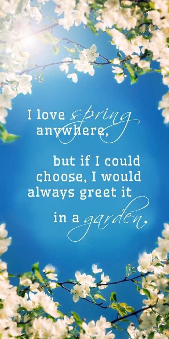 """""""I love spring anywhere, but if I could chose, I would always greet it in a garden."""" -Ruth Stout"""