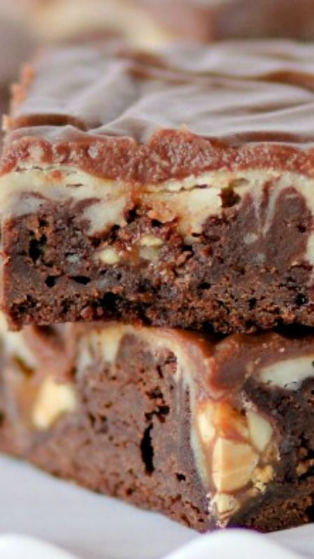 Snickers Cheesecake Fudge Brownies ~ They are fudgy, cheesecakey, and…