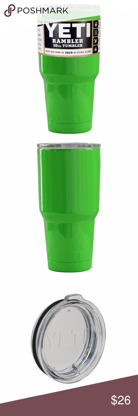 BRIGHT GREEN YETI 30OZ TUMBLER 2017 NEW YETI TUMBLERS 30oz BRIGHT GREEN    30oz YETI TUMBLER, YETI LID, Original Yeti sticker, & YETI BOOKLET  • Double Wall Vacuum Insulation to Keep your drink Cold. • 18/8 Stainless Steel Durable Kitchen-Grade Steel.  • The outside stays dry. No need for a coaster. • Tight Seal Heavy duty lid seal locks in the cold. • Keeps Ice Longer twice as long as plastic tumblers. Powder Coated. Hand was only. YETI Accessories