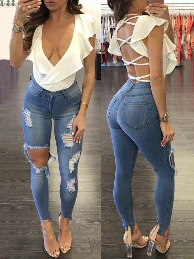 Lace-up Frilled Open Back Bodysuit Romper