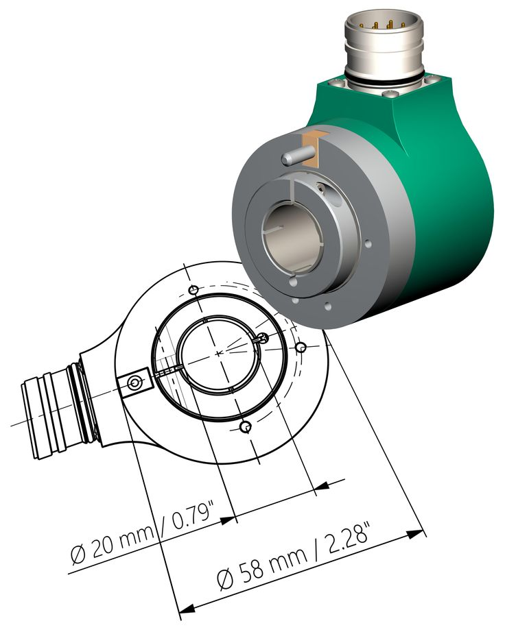 ESC61 / EMC61 - compact absolute #encoder with 20 mm large hollow shaft. Available in 13-bit single-turn version and up to 27-bit resolution multiturn version. Currently available with SSI interface, versions with bus and Ethernet interface available soon. The robust design, the IP67 protection and the extended temperature range -40°C to +100°C (-40°F +212°F) allow for use in harsh environments. #HM16 Hall 9 Booth H77 #Lika