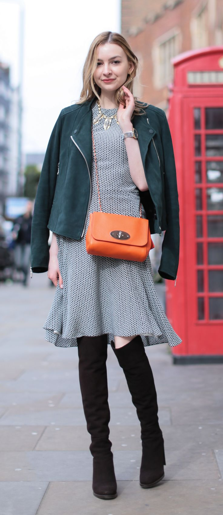 Aleksander l gina tricot handbag from 2010 h amp m sunglasses 2006 - Knee High Stuart Weitzman Boots Mulberry Dress And Mulberry Lily Bag In Orange