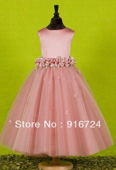 Imagens reais de cetim tule vestido de baile do tornozelo comprimento vestido da menina flor Custom Made em Vestidos de Dama de Honra de Casamentos & eventos no AliExpress.com | Alibaba Group
