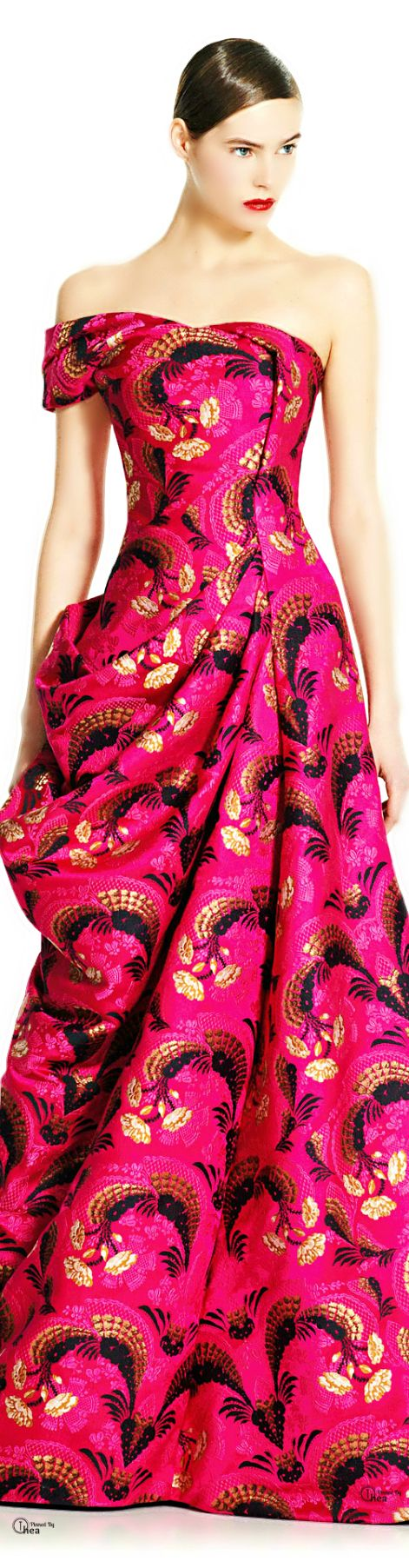Alexander McQueen ~ Fall One Shoulder Fit Flare Multi Color Print Maxi Dress 2012