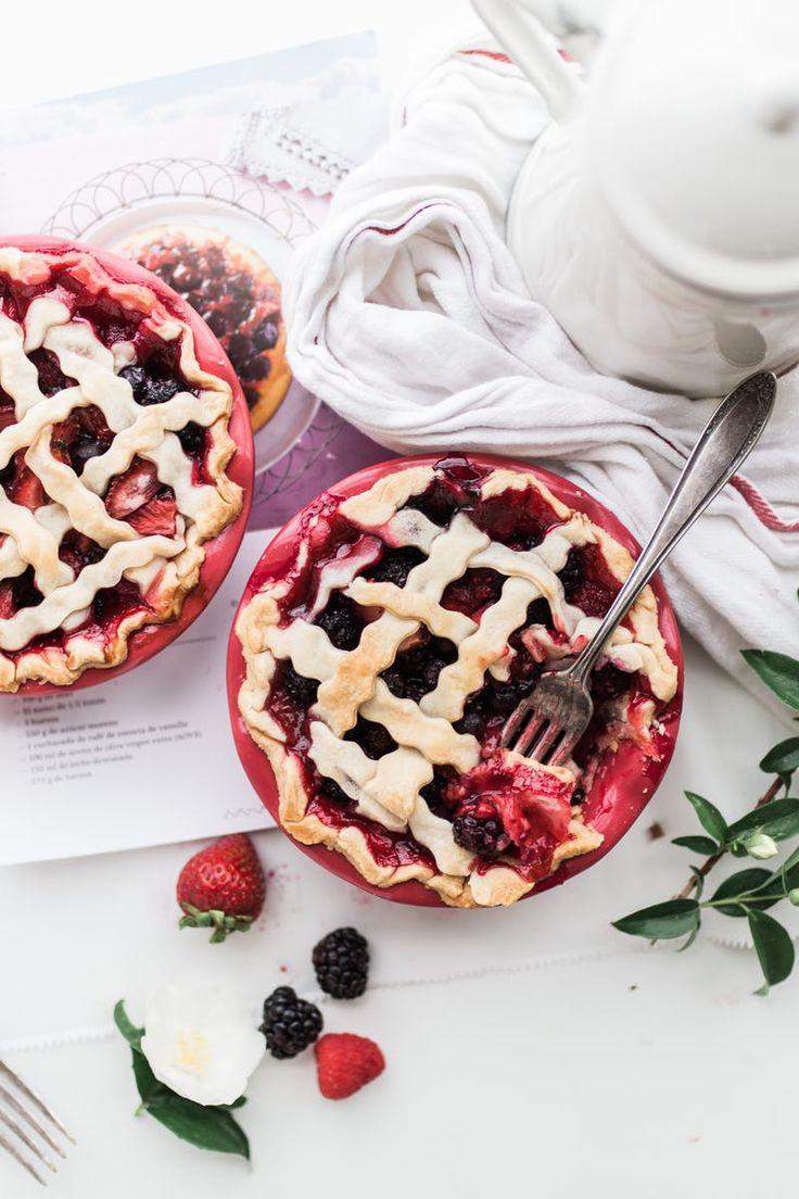 Strawberry and Raspberry Pie Near White Ceramic Pitcher