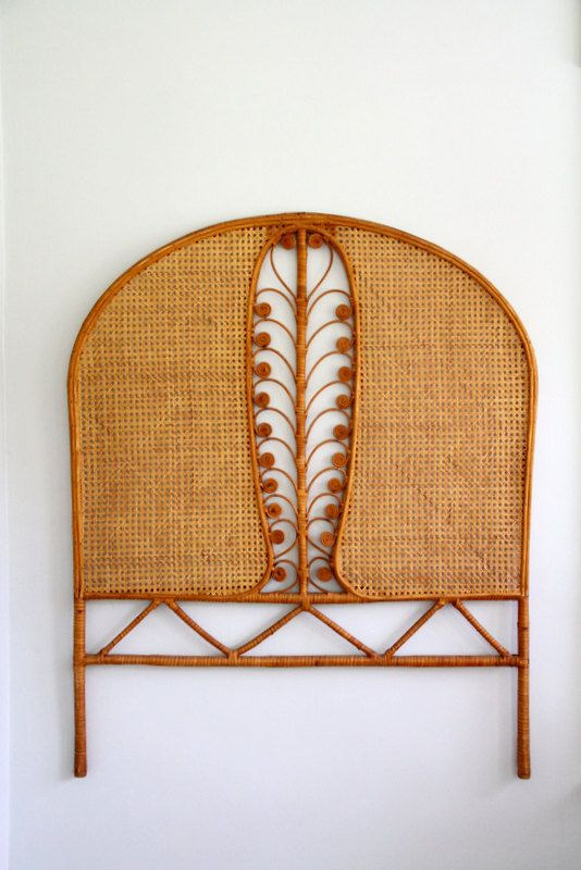 Vintage Rattan Wicker Headboard Peacock Feather Twin Single Size Curved Caned Bedroom