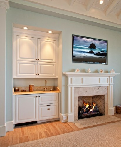 Neutral Living Room With Traditional Fireplace In 2019: Wet Bar Nook...next To Fireplace?? In 2019
