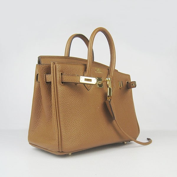 Hermes Coffee 25CM Birkin Clemence Leather Bag With Gold HW Product Model: Hermes Birkin 25CM  Availability: In Stock  Color: Coffee / Gold  Material: Calf Leather  Size: W25×H18×D13CM  Package: Hermes dust pouch, padlock, keys and key ornaments  Shipping: Free Price: $219