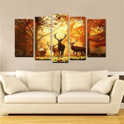 Yhhp Elk In The Antumn Forest picture Print Modern Wall Art On Canvas Unframed - Orange Canvas Landscape Online