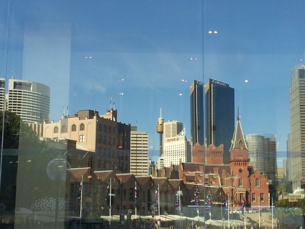 Reflection of Sydney Circular Quay in the window of the Hyatt Hotel overlooking Sydney Harbour.  Photo taken May 2012 while in Sydney attending the Australasian Talent Conference. #sydney