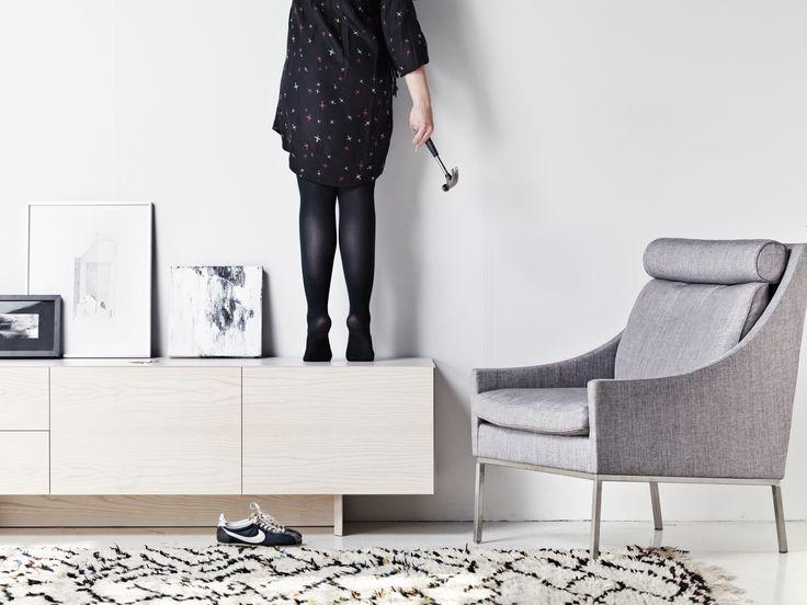 "Valanti ""Tyyni tv-table"" and Onni chair. Design by Kirsi Valanti."