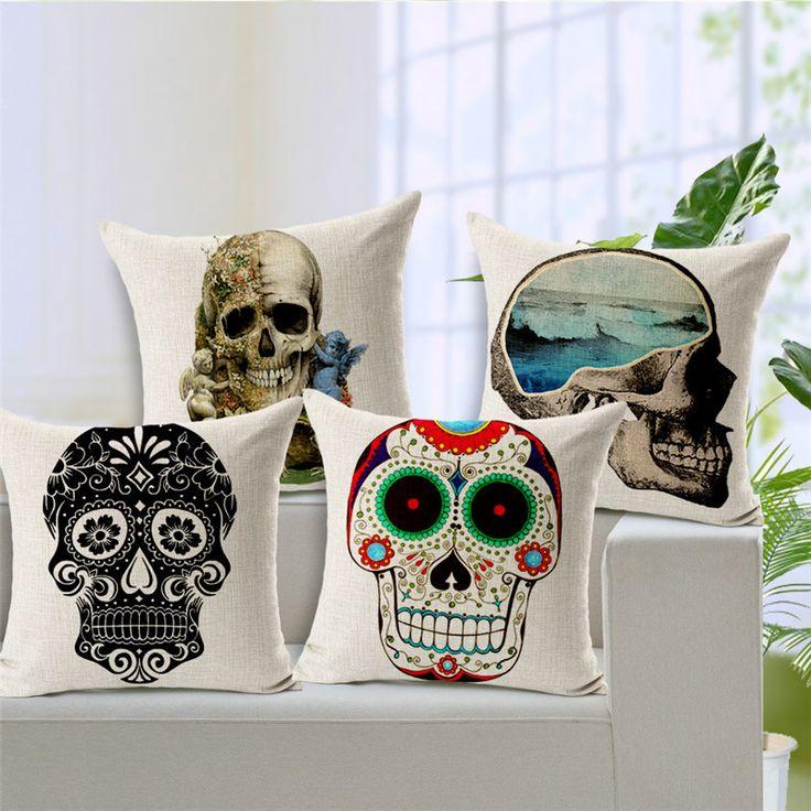 Car-covers Linen Cushion Cover Skull 1 Side Print 45*45cm For Sofa Car Decor Throw Pillowcase Halloween Almofadas Fundas Cojines #Affiliate