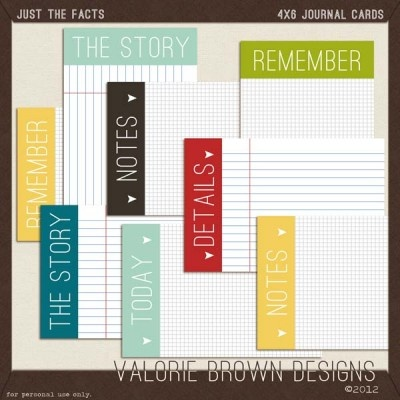 Freebie journaling cards by Valorie Brown Designs.