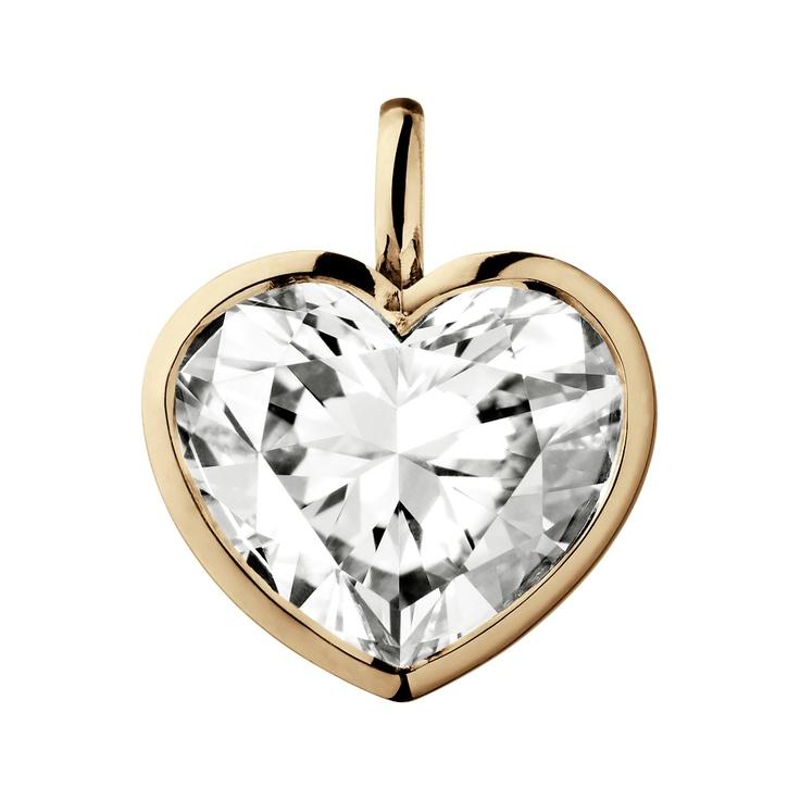 Herzförmiger Diamantanhänger in einer Fassung aus Roségold