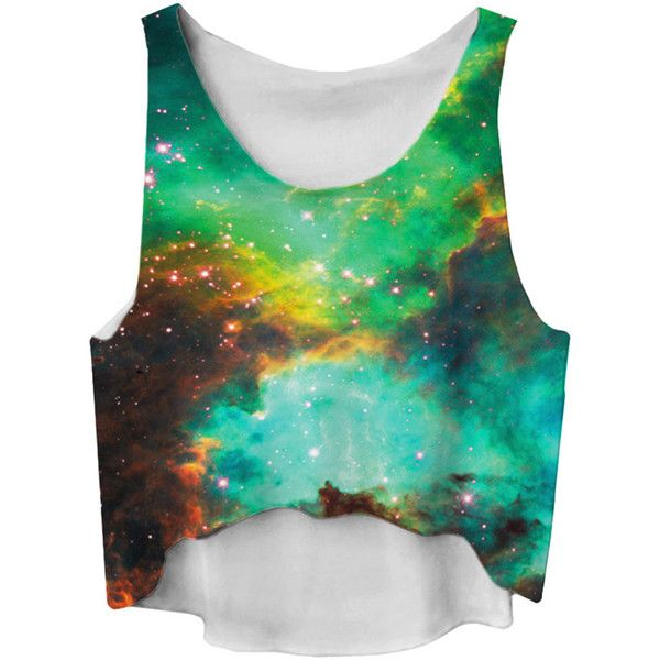 Turquoise Gradient High Low Galaxy Printed Fashion Ladies Crop Top ($6.84) ❤ liked on Polyvore featuring tops, galaxy, shirts, crop tops, crop top, galaxy print shirt, shirts & tops, crop shirts and nebula shirt