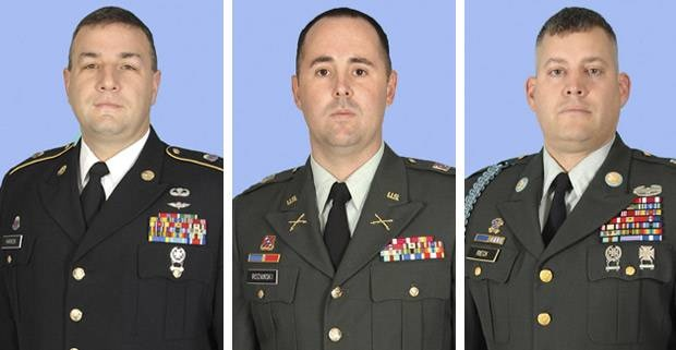 Left to right: Sergeant First Class Shawn T. Hannon, Captain Nicholas J. Rozanski, Sergeant First Class Jeffrey J. Rieck. National Guard Soldiers from the 37th Infantry Brigade Combat Team, KIA April 4 in Faryab province Afghanistan from a suicide vehicle borne improvised explosive device. http://www.defense.gov/releases/release.aspx?releaseid=15165