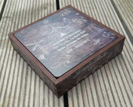 Drink coasters. 90 mm. Felt backed. Custom printed set of 4 in printed timber box. MyChoice@Firebridge