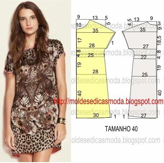 PASSO A PASSO MOLDE DE VESTIDO O molde de vestido encontra-se no tamanho 40. Nota: A ilustração do molde vestido não tem valor de costura. Corte um retângu: