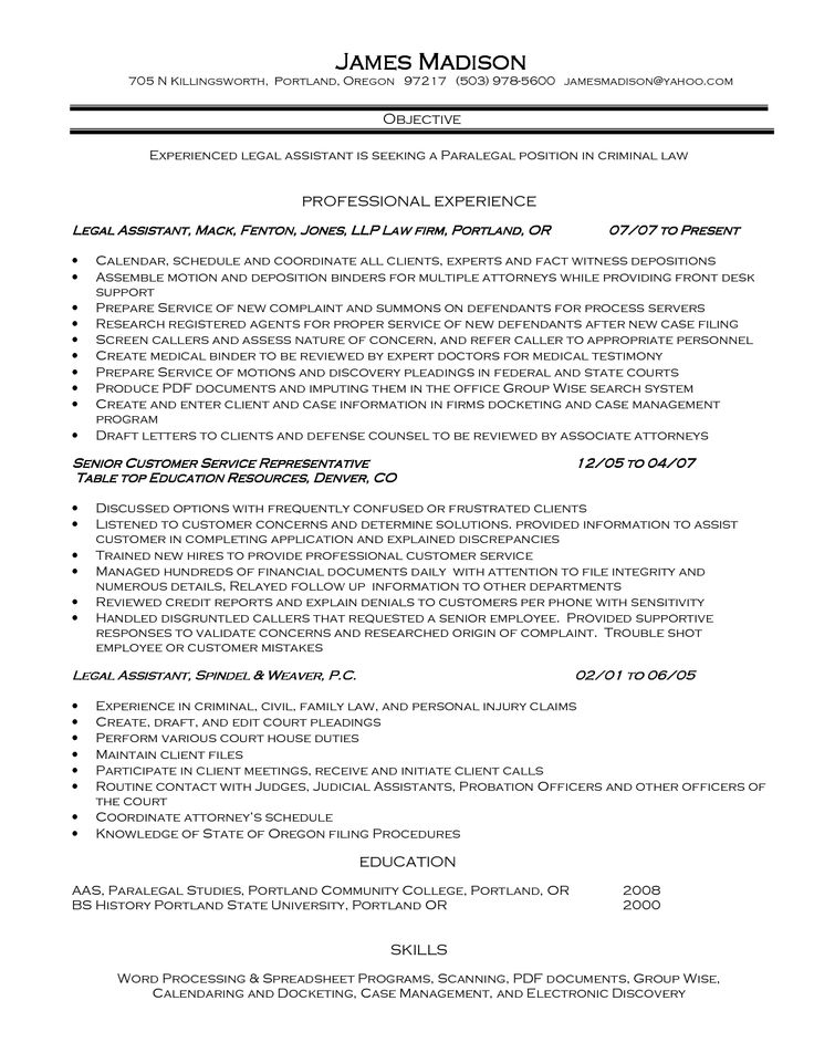 legal secretary resume examples httpwwwjobresume