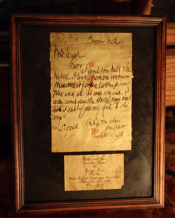 Jack the Ripper  From Hell Letter framed. by TheRagNBoneEmporium, $20.66