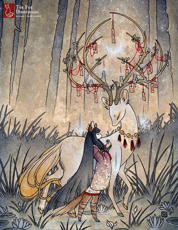 The Wish / Kitsune Fox Girl Yokai Deer / by TeaFoxIllustrations
