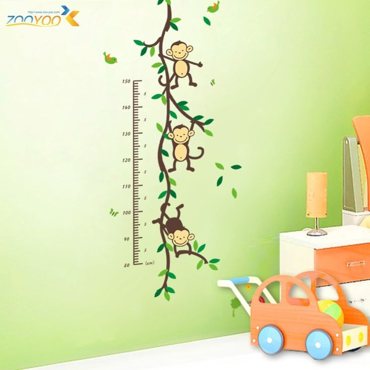 ZooYoo Original Playing Monkey Tree Height Wall Art Stickers Kids Nursery Removable Decor