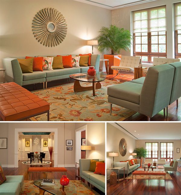 Thsi would be a retro living room because of the bright colors and the  starburst clockTop 25  best Retro living rooms ideas on Pinterest   Retro home  . Interior Design Colors For Living Room. Home Design Ideas