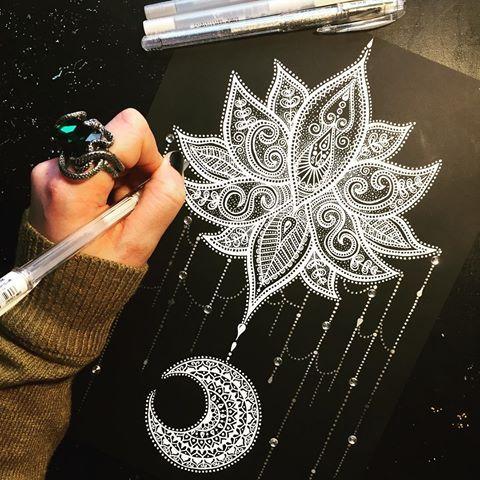Finished ☺️☺️ RING is from @regalrose  #glitterpen #stardust #signoballpen #embellishment #glitter #sparkle #lotus #lotusflower #mandala #lotusflowertattoo #lotustattoo #lotusmandala #mandalaplanet #mandalapassion #mandalas #moon #heymandalas #mandalala #tattoo #tattooinspo #white #blackandwhite