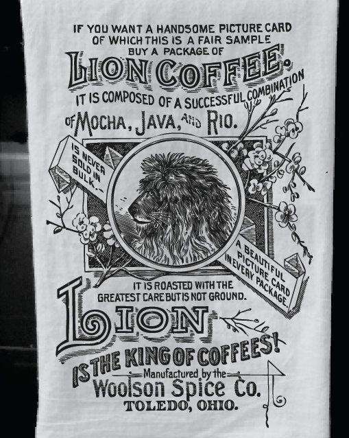 SUMMER SPECIAL / / The Lion Coffee Kitchen Towel With Vintage Advertisement  Print: Soft Black And White Screen Printed Kitchen Tea Towel