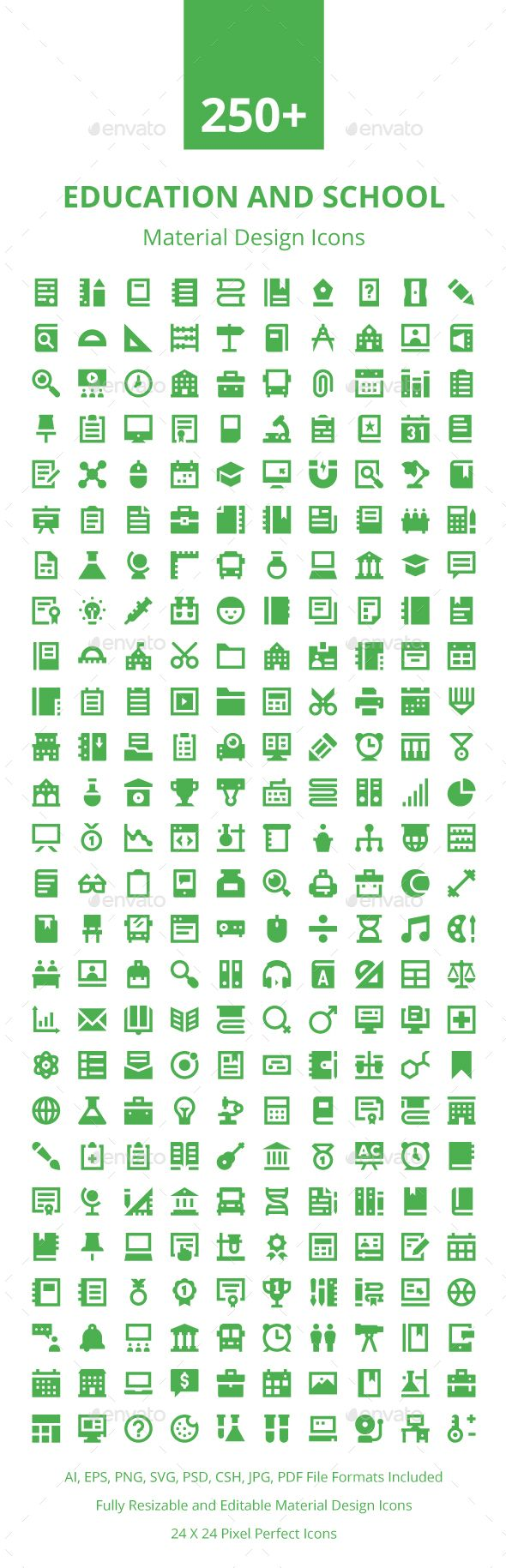 250+ Education Material Design Icons. Download here: https://graphicriver.net/item/250-education-material-design-icons/17672789?ref=ksioks