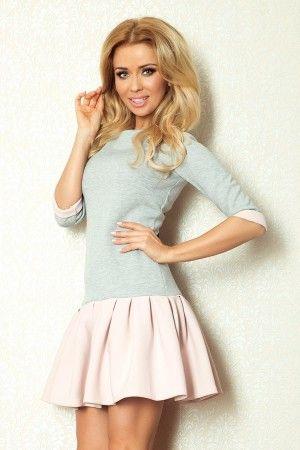 86-2 Szara sukienka z różową spódniczką - 10271