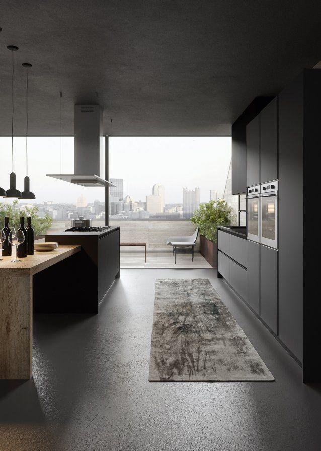 Modern Kitchen In Oak And Black Laquer Progettazione Di Una