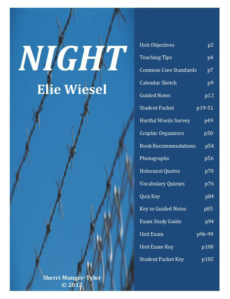 book report on elie wiesels night From a general summary to chapter summaries to explanations of famous quotes , the  night is a memoir by elie wiesel that was first published in 1960.
