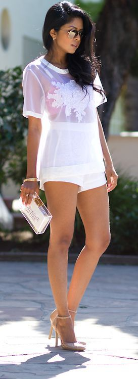 All #White Everything. High waisted shorts, sheer top, clutch and heels. #stylechat