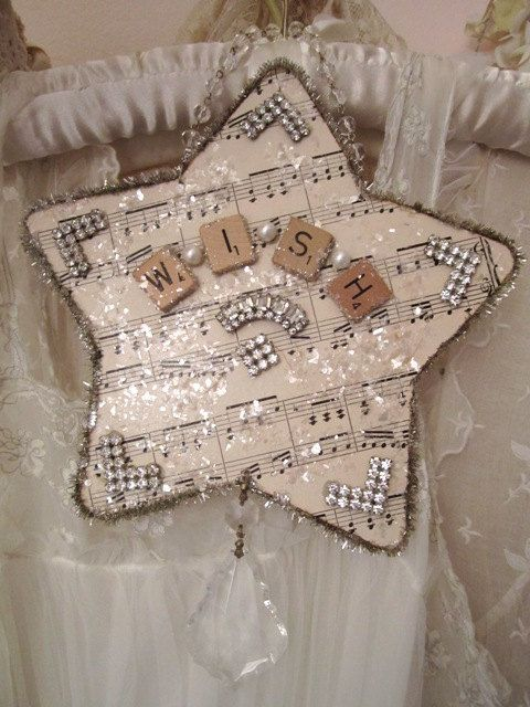 Shabby Chic Tree Star  Wish  Holiday Decor by RoyalPaper on Etsy, $28.00