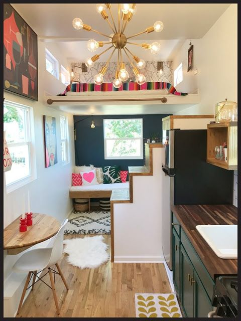 the interior of a mid centry modern home featured on tiny house big - Tiny House Interior