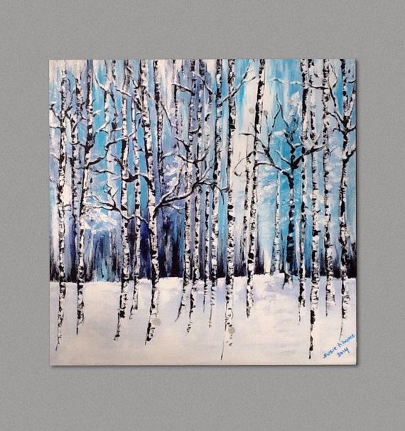 Birch Tree and Aspen Trees Painting, Winter Forest Modern Absract  Wall Art by Susie Tiborcz