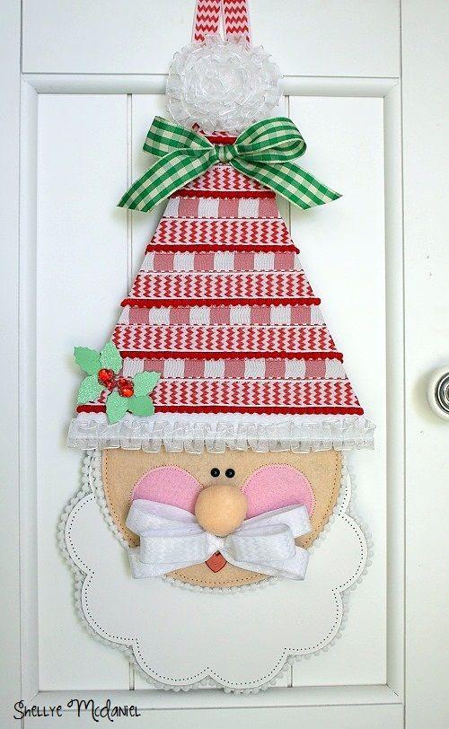 Crafted Santa using felt, chipboard and @Matt Valk Chuah May Arts Ribbon Lady ribbon #christmas #craft #ribbon