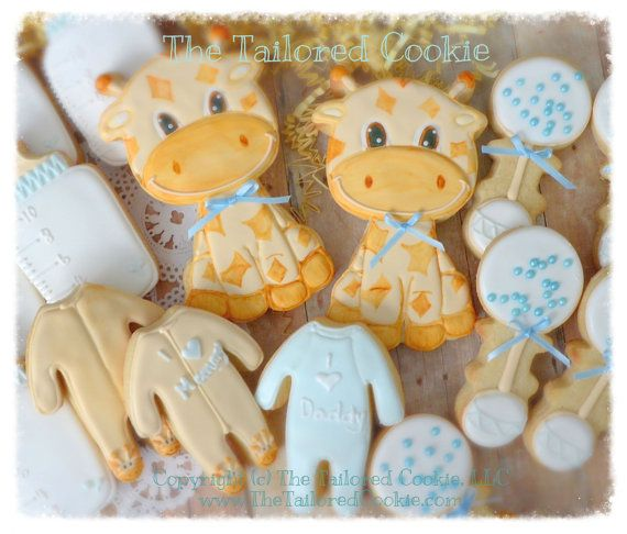 Decorated Baby Giraffe Baby Shower Cookie Set; Onesies, Pajamas, Rattles, Bottles, Shortbread Sugar Cookies, White, Baby Blue, Tan