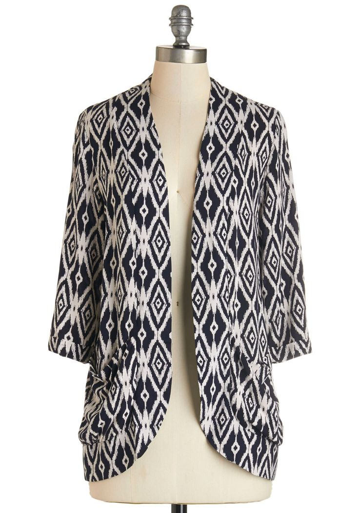 Ikat Believe It Cardigan. Start believing it, girl - this navy-and-white jacket is here and ready to be styled in your own, unique way!  #modcloth