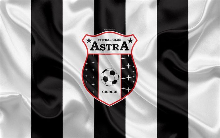 Download wallpapers Astra FC, 4k, Romanian football club, Astra logo, silk flag, Romanian Liga 1, Giurgiu, Romania, football