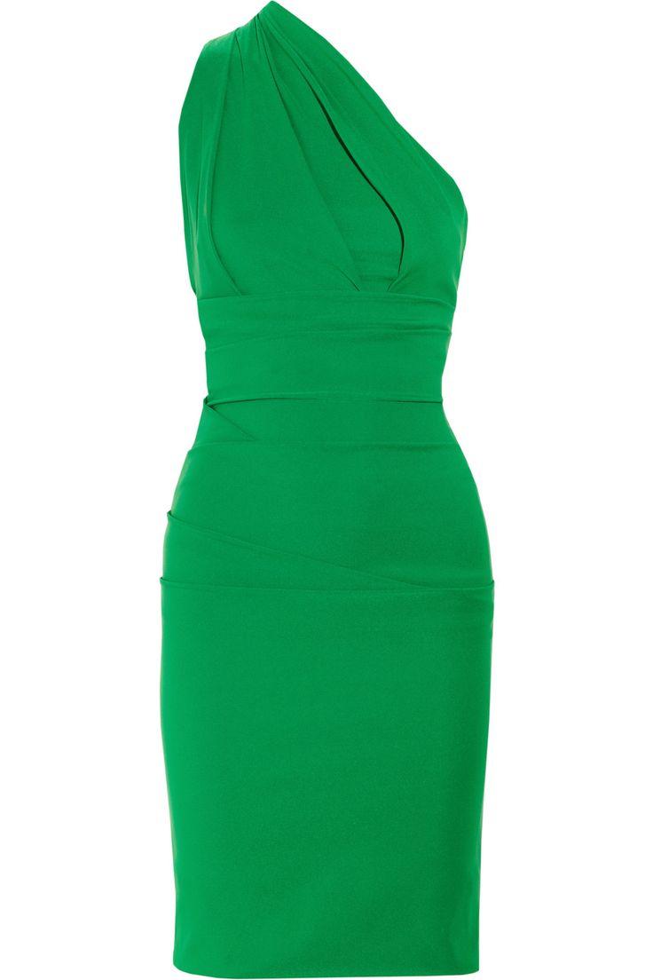 Preen Plaza Oneshoulder Stretchcrepe Dress in Green | Lyst