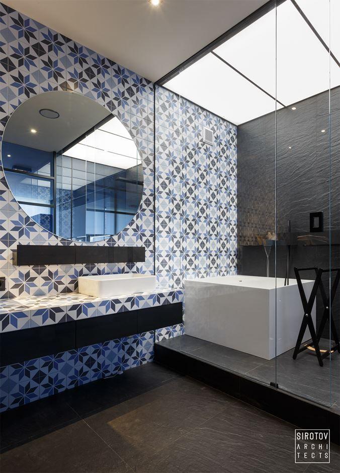 igorsirotov design an apartment for a young man in a modern style bathroom