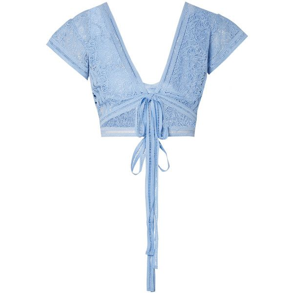 Miguelina Estella cropped guipure lace top ($285) ❤ liked on Polyvore featuring tops, light blue, tie crop top, lace top, lace bralet tops, white bralette top and light blue crop top