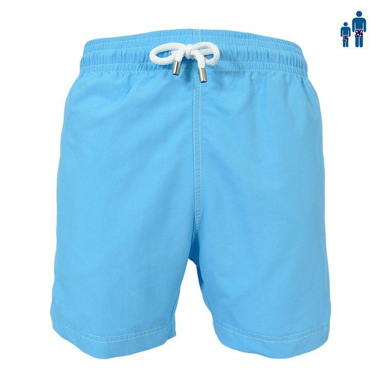 Jules - Maillot short de bain homme bleu ciel skipper uni - Les Loulous de la plage