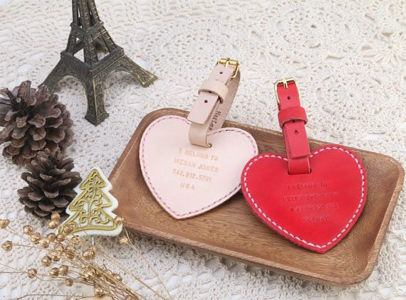 Personalized Leather Heart Shape Luggage Tag x2 in Set by HarLex