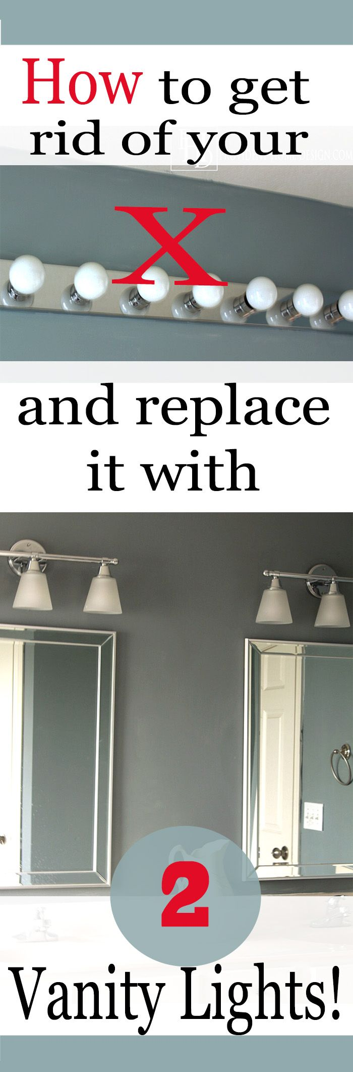 Want to upgrade your hollywood light and replace it with two vanity lights? This is the tutorial for you! Step by step instructions with pictures. Makes such a difference!
