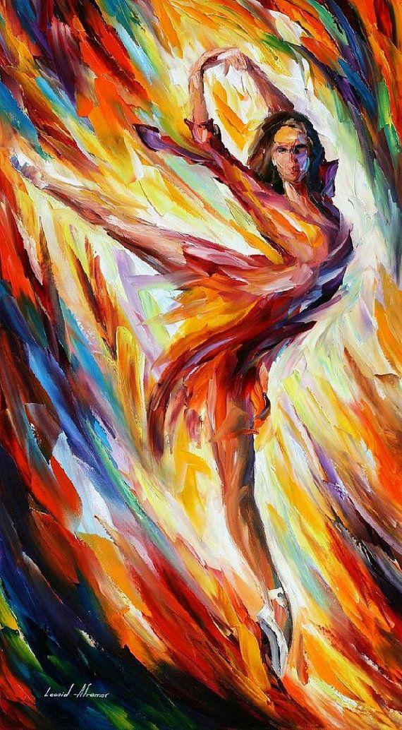 Art ballerine - feu et Passion-peinture à l'huile sur toile par Leonid Afremov ballet. Danse fille, art de la danseuse, danse décor, taille : 20 « x 36 »